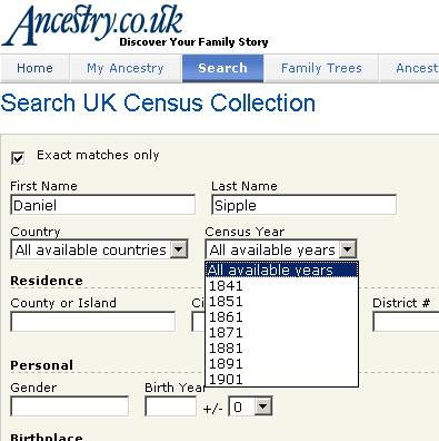 Ancestry census search