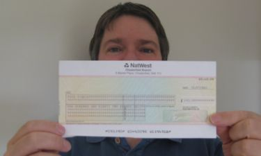 Me, with the cheque from Royal Mail